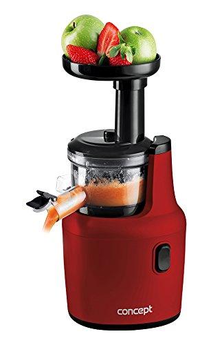 CONCEPT Hausgeräte CONCEPT Entsafter LO7112, 120 W, rot, 2-Phasen-Extrahierung, Antidrip, Einfüllöffnung 43 mm, Edelstahl-Sieb, 55 Umdrehungen/Minute, 1 Liter saftbehälter Plastik