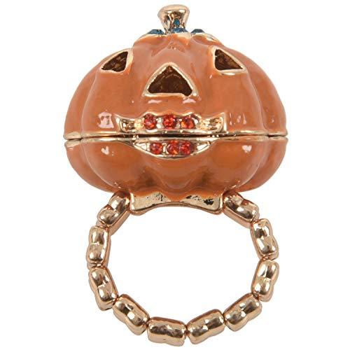 Cikuso Anillo de la Calabaza Medallon de la joyeria para Halloween Anillo del Estiramiento de la Calabaza Naranja + Oro