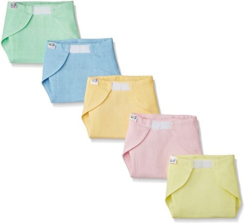 Tiny Care Baby Medium Nappy U Shape (Pack of 5) Muslin with Velcro Colour (Multi )