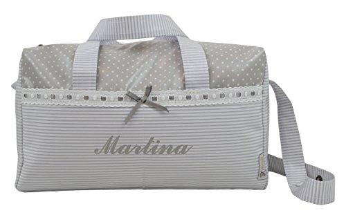 BOLSO MATERNAL PLASTIFICADO tipo maleta BORDADO CON EL NOMBRE DEL BEBÉ. Modelo Verona. Varios modelos disponibles. (Gris)