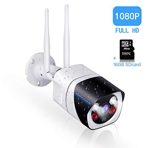 Überwachungskamera Aussen WLAN,SZSINOCAM WLAN IP Kamera Outdoor 1080p,10m Farbe Nachtsichtfunktion, Zwei-Wege-Audio,IP66 Wasserdicht,Bewegungserkennung,Unterstützung FTP, Email