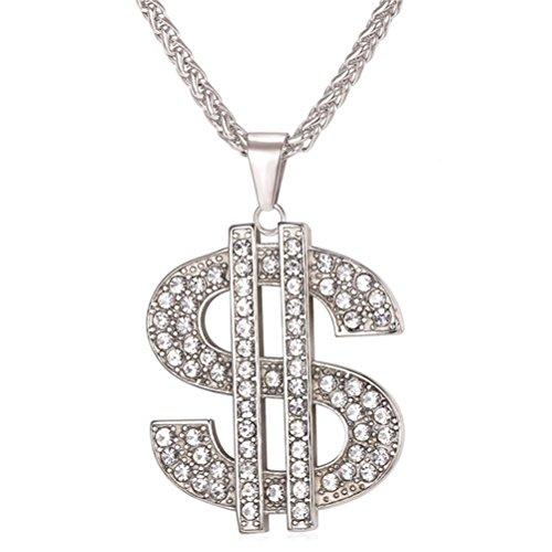 OULII Cadena Colgante Collar unisex Hip Hop Símbolo Dólar Joyas Collar (Plata)