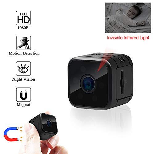 Mini cámara fácil de usar: antes de usarla, confirme si está completamente cargada e inserte la tarjeta micro sd;  Compatibilidad con cámara espía pequeña con función múltiple, toma fotos / video (video 1080p y 1280p), detección de movimiento, grabac...