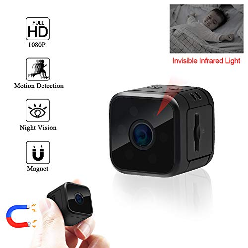 Mini Kamera UYIKOO HD 1080P Tragbare Kamera 120 Grad Kleine Kamera Überwachung Nanny Kamera mit Bewegungserkennung und Infrarot-Nachtsicht für Innen- und Außen-Überwachungskamera