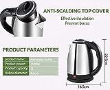 HOLME'S Kettle TSQ0051/Electric Kettle/Kettle/Tea Kettle/Tea and Coffee Maker/Milk Boiler/Water Boiler/Tea Boiler/Coffee Boiler/Water Heater/Stainless Steel Kettle/1.8 Liter Stainless Steel