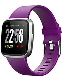 Hukz Multi-Funktion Fitness Tracker Blutdruck Pulsmesser Aktivität Tracker Schrittzähler Smartwatch, Wasserdicht Intelligente Armbanduhr Sport Uhr mit Anruferinnerung (Lila)