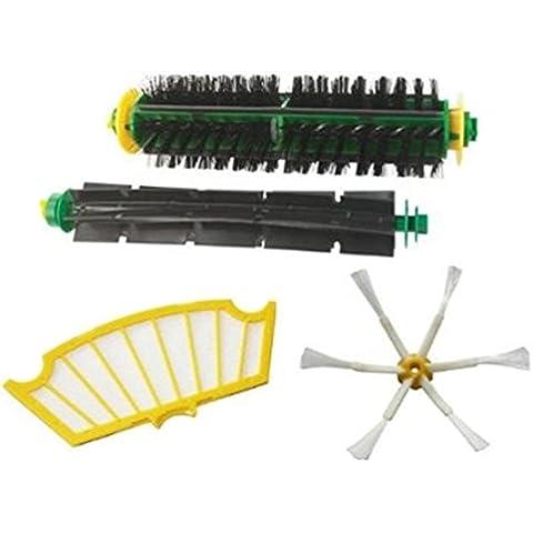LETSDO Filtros y cepillo batidor flexibles Kit para iRobot Roomba 500 Serie 520 530 540 555 560 562 570 580 Kit Accesorios