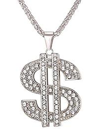 OULII colgante unisex cadena Hip Hop Dólar símbolo Tag Bijoux collar (plata)