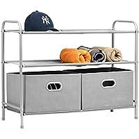 Umi. Aufbewahrung Kommode Garderoben mit 2 Schubladen Schubladenschrank Stoffschrank Campingschrank , Silbergrau