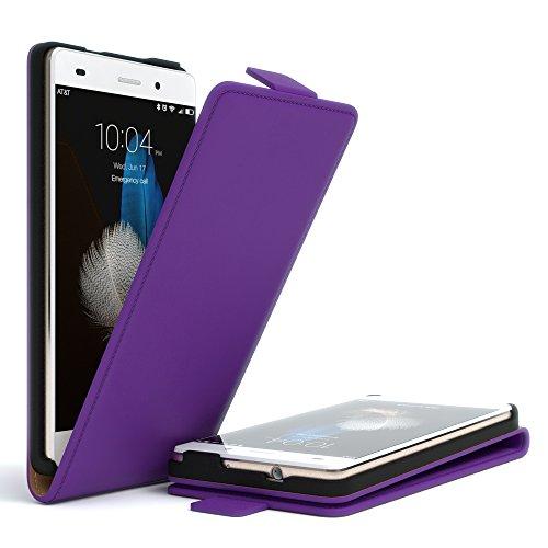 Huawei P8 Lite (2015) Hülle - EAZY CASE Premium Flip Case Handyhülle - Schutzhülle in Braun Lila (Flip)