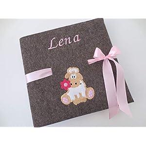 Fotoalbum Kind/Baby Album Name Schaf Junge Mädchen Geburt Wollfilz 24,5 cm x 25 cm