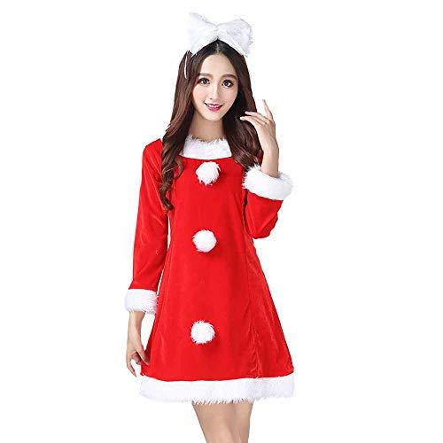 Santa Anzug Erwachsene Cosplay Sexy Gold Velvet Show Kostüm Abendkleid Outfits Für Weihnachten/Karneval Halloween,Red,OneSize (Billig Sexy Santa Kostüm)