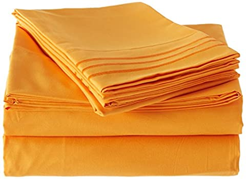 Elegant Comfort 1500 Thread Count Wrinkle Resistant Egyptian Quality Ultra Soft Luxurious 4-Piece Bed Sheet Set, California King, Elite Orange