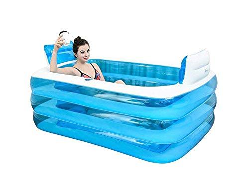 Faltende Badewanne, Aufblasbares Bad Erwachsene Badewanne PVC Tragbare Badewanne rutschfeste Qualität Faltbares Aufblasbares Pool GAOFENG (Color : Foot Pump, Size : 160x120x60cm)