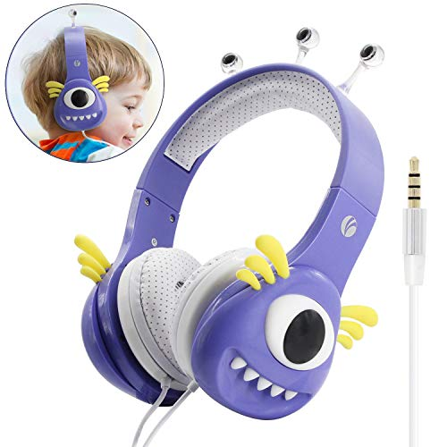 VCOM Kinder Kopfhörer, Verstellbare Mädchen Monster Kinder Kopfhörer Musik Gaming Headsets mit Lautstärke Begrenzender für iPhone iPad Smartphones Tablets Kindle PC Laptop Computers-Lila