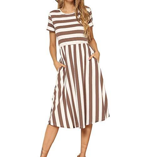 Frauen Sommer Kleid Jeesboy Mode Lässige Kleidung mit Taschen Kleid Damenmode Kurzarm gestreiften Print Taschen Lässige Midi-Kleid Milk Silk Rot Grün Blau Lila Coffee (Kleid Silk Tank)