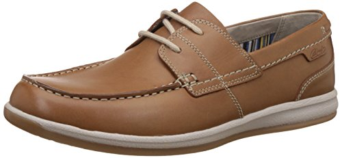 Clarks Tan Leather 'Fallston' Boat Shoes, TAN / Leather, 6 UK