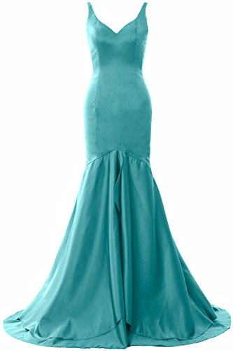 MACloth Women Mermaid V Neck Satin Long Prom Dress Tiered Formal Evening Gown Turquoise