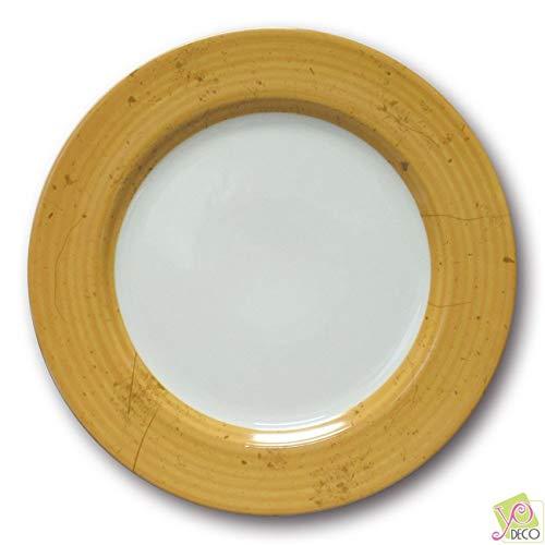 Lot de 6 assiettes plates Prestige Jaune D 31 cm
