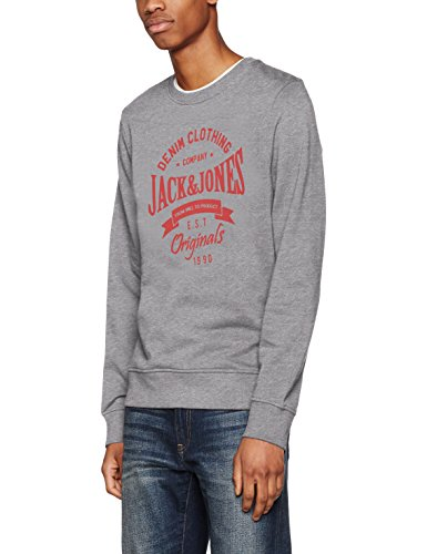 JACK & JONES Herren Sweatshirt Jortometo Sweat Mix Grau (Light Grey Melange Fit:Slim Hood)