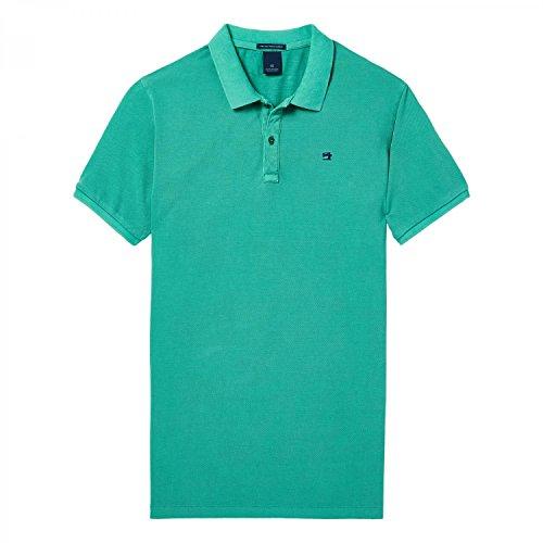 Scotch & Soda Herren Poloshirt Classic Garment-Dyed Pique Polo Grün (Jade 1154)