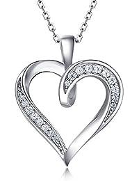 d45d1928c2894 Billie Bijoux 925 Sterling Silver Infinity Love Heart Necklace Platinum  Plated Round CZ Diamond Fine Woman s