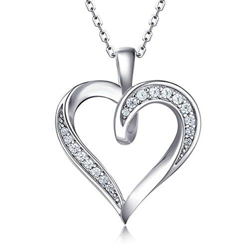 """Billie Bijoux 925 Sterling Silber Unendlichkeits Liebe Herz Halskette Platin überzogen Runde CZ Diamant Fine Damen Schmuck 18\"""""""
