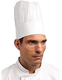 Toque de cuisinier en papier jetable. Taille unique. Boîte de 50.