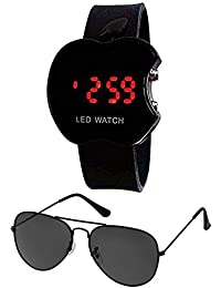 Unisex Combo Pack of Black Matte Sunglasses and Appple watch for kids