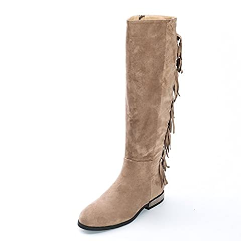 Alexis Leroy Women's Synthetic Suede With Tassels Knee High Riding Boot Taupe 7 UK / 40 EU