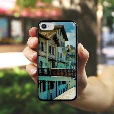 Apple iPhone X Silikon Hülle Case Schutzhülle Fachwerkhäuser Gebäude Brücke Hard Case schwarz