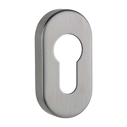 ovale Schlüsselrosette Profilzylinder Edelstahl matt - Höhe 9 mm - Oval Matt