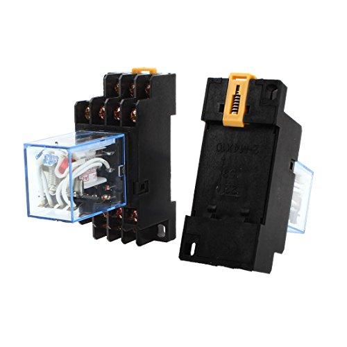2PCS AC 110–120V Coil Red Light 4PDT 14pins Power Relay + Sockel (120v Coil)