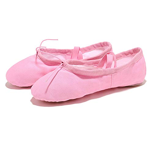 Lefuku Cotton Canvas Girls Ballet Slippers Split Sole Dance Flats Yoga Pilates Shoes Gymnastic Shoes for Children Kids/Women and Ladies