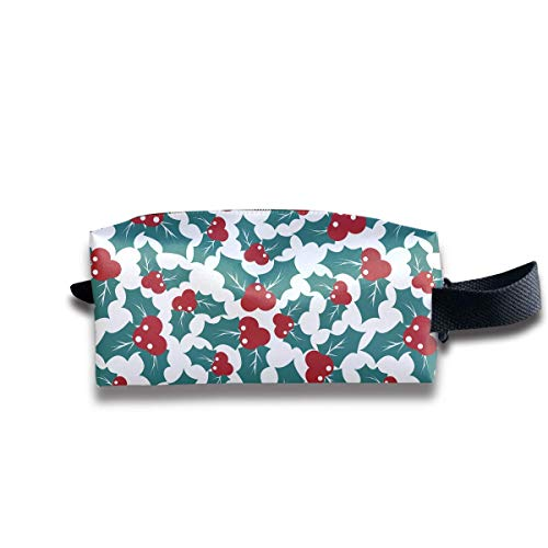 Fashion Travel Makeup Pouch Christmas Holly Berries Cosmetic Toiletries Organizer Bag Pencil Case Storage Bag Japan Holly