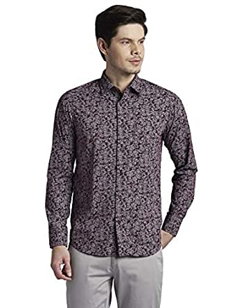 Colorplus Printed Dark Maroon Coloured Cotton Shirts