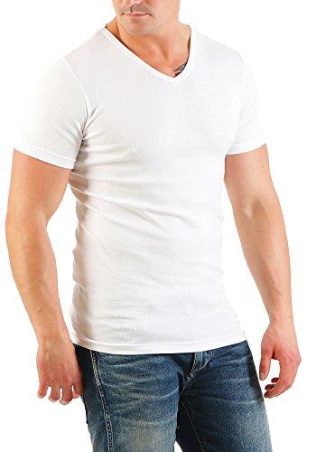 2er Pack Herren T-Shirt mit V-Ausschnitt Nr. 446/1500 ( Weiß-Weiß / XXL ) - 3