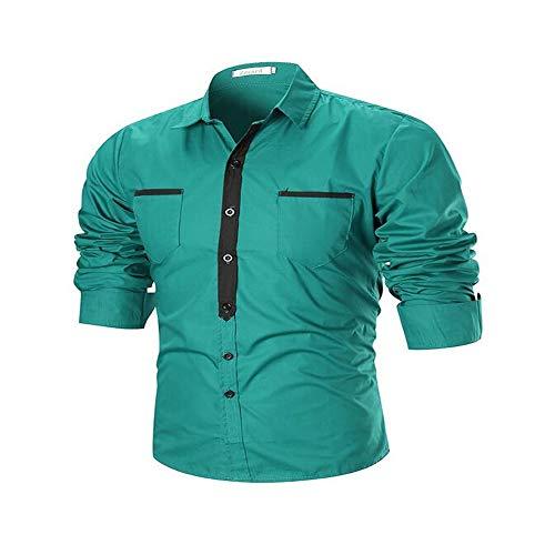 qulvyushangmaobu Herren Langarm Plain Casual Shirt Herren Slim Fit Langarm Plaid Drucke Business Checked Shirt Herren Hemden Regular Fit Langarm Herren Shirt