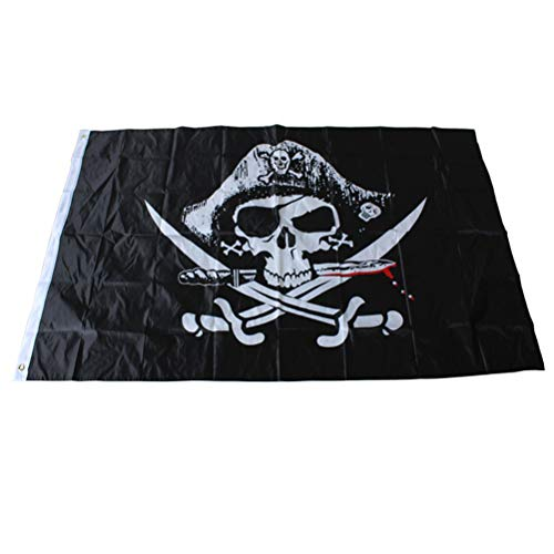 Toyvian Piratenflagge Piratenflagge Piraten Jack Rackham Flag Totenkopf Piraten Thema Party Dekorationen 90x150 cm (Schwarz)