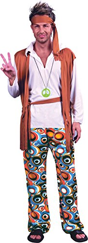 ace Hippie Man Fancy Dress Party Kostüm Groovy Flower Outfit UK (Mens 60's Hippie Kostüme)