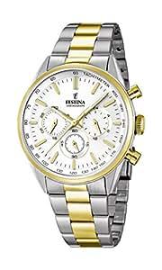 Festina - F16821-1 - Montre Homme - Quartz Chronographe - Cadran Blanc - Bracelet Acier Multicolore