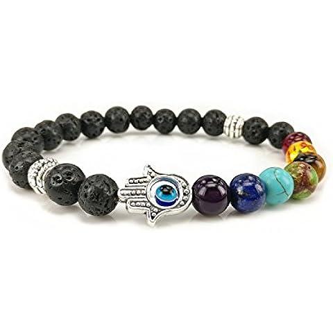 7color Ágata pulsera de perlas de la Volcanic de energía pulsera–Mano de Fátima