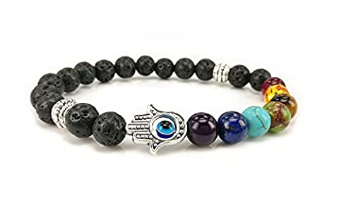 7 Colour Agate Energy Bracelet The Volcanic Beads Bracelet - Hand Of Fatima by Dream Alice