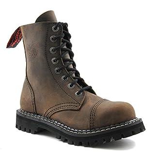 ANGRY ITCH - 8-Loch Gothic Punk Army Ranger Armee Vintage Braun Leder Stiefel mit Stahlkappe 36-48 - Made in EU!, EU-Größe:EU-43