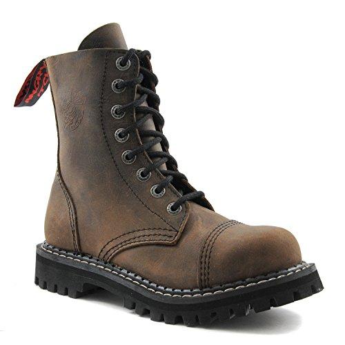 ANGRY ITCH - 8-Loch Gothic Punk Army Ranger Armee Vintage Braun Leder Stiefel mit Stahlkappe 36-48 - Made in EU!, EU-Größe:EU-44 -