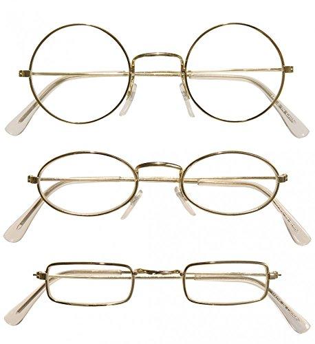 Brille mit goldenem Rand für Weihnachtsmann Oma Opa Zwerg Nikolaus (Brille Oma)