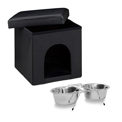 Relaxdays 2 teiliges Set Home Sweet Hund L, Hundebox als Sitzhocker mit Tierhöhle, Hundebett schwarz, Doppelnapf Futterstation