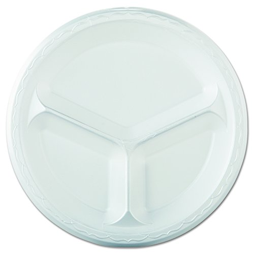 Genpak Lam13 10-1/10,2 cm Blanc 3 Compartiment Elite laminé en mousse Vaisselle plate 125-pack (Etui de 4)