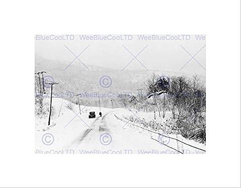 VINTAGE LANDSCAPE WINTER SNOW BLIZZARD BRATTLEBORO FRAMED ART PRINT B12X10396
