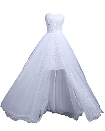 Mingxuerong Hochzeitskleid Zweiteilig Tüll Ivory Spitze Brautkleider 2 Teilig Weiß 40